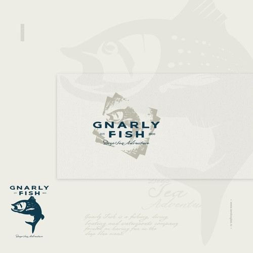 Sailing design with the title 'Classic, vintage fish for a deep sea adventure company'
