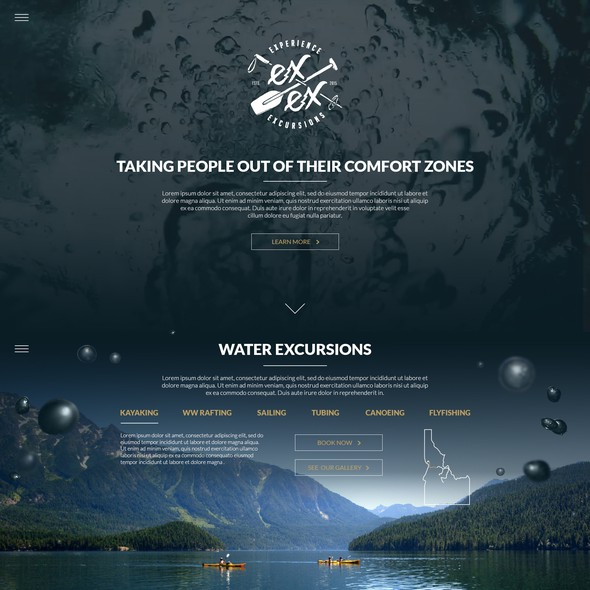 Water website with the title 'Webdesign for Extreme Outdoor Excursions'