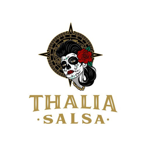 Dia de los Muertos design with the title 'Logo for traditional Mexican salsa'