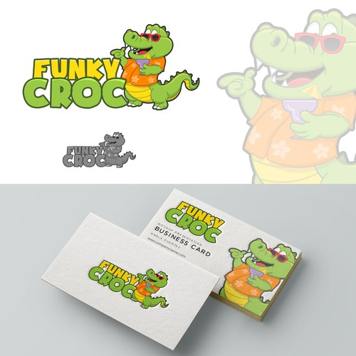 Crocodile design with the title 'Logo for Beach Restaurant'