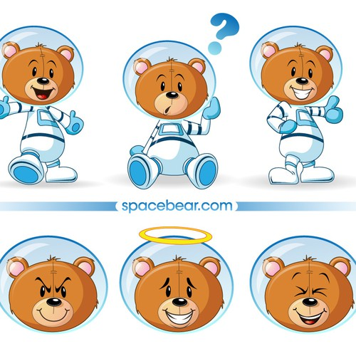Cartoon artwork with the title 'Mascot wanted for SpaceBear.com'