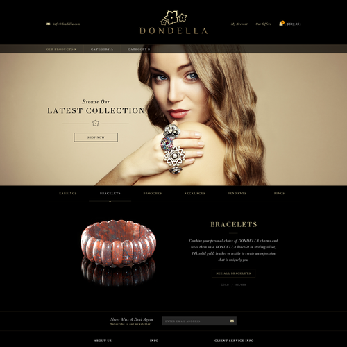 Modern website with the title 'Website design for Dondella'