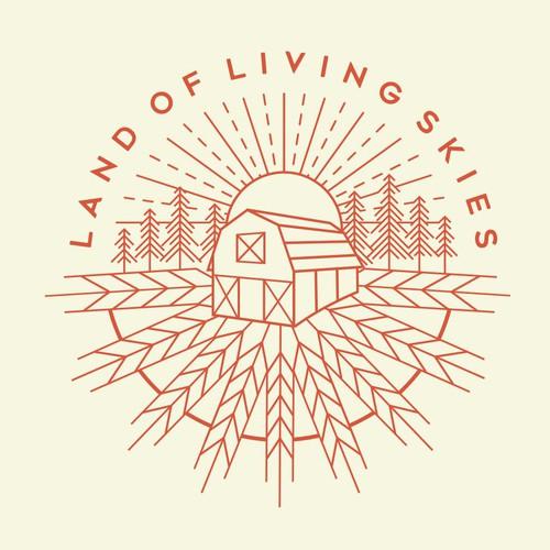 Line art t-shirt with the title 'Land Of Living Skies, Saskatchewan landscape illustration.'
