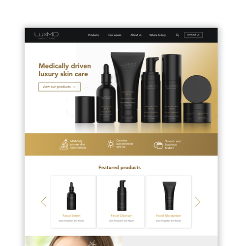 Clear website with the title 'Website design for a skin care line'