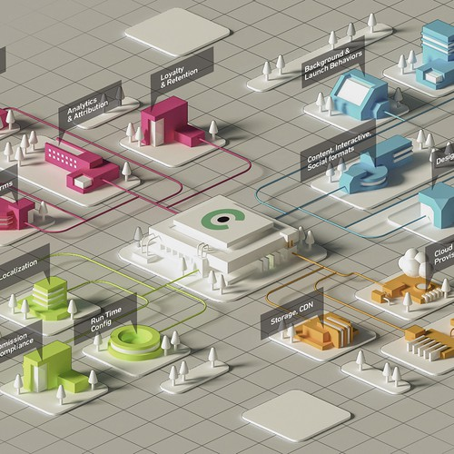 Isometric illustration with the title 'infographic town isometric style'