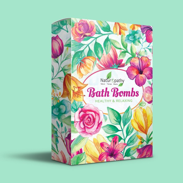 Holistic design with the title 'Bath Bombs packaging design'