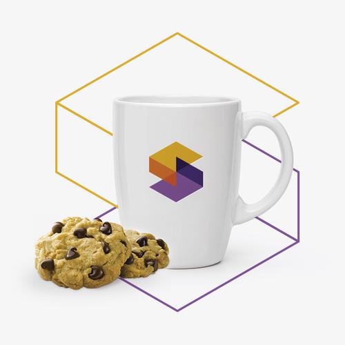 Hexagon logo with the title 'Bold and techy hexagonal S monogram logo'