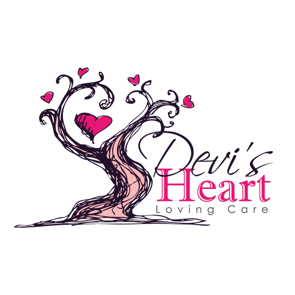 Daycare logo with the title 'heart tree -sketchy artistic style'