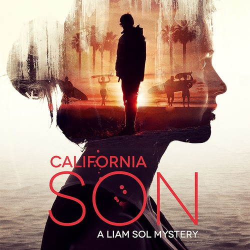 Double exposure artwork with the title 'California Son'