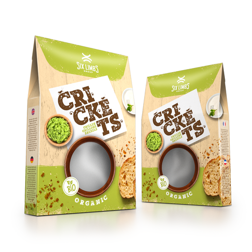 Fun packaging with the title 'Packaging for cricket food'