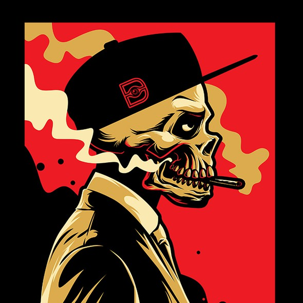 Streetwear t-shirt with the title 'Smoke Skull'
