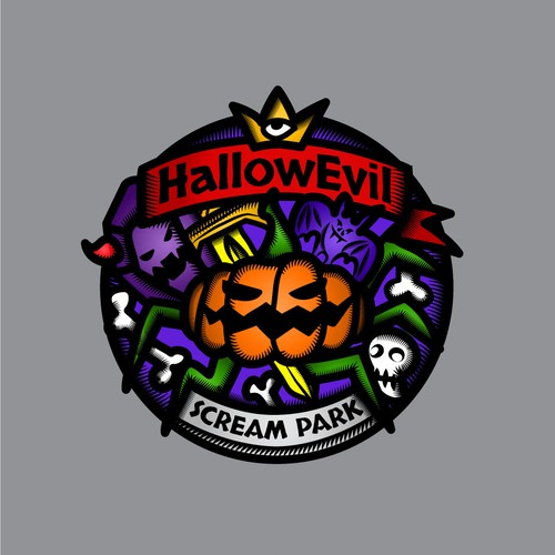 Scary design with the title 'Logo for Halloween Theme Park in real castle '