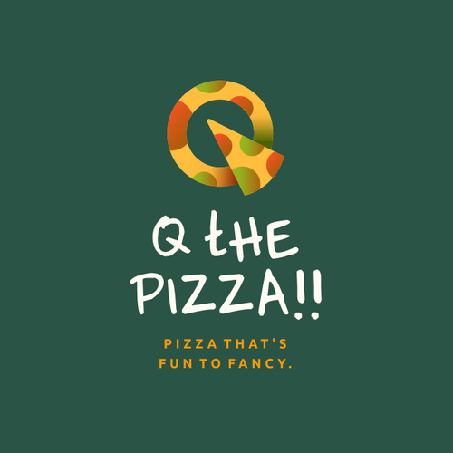 Design with the title 'Q THE PIZZA!!'