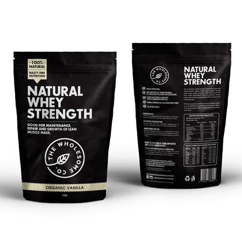 Organic label with the title 'Packaging Design for Natural Protein company'