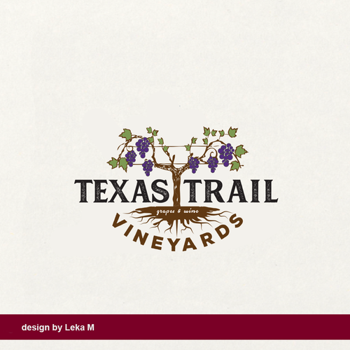 Grape logo with the title 'Texas Trail Vineyards'