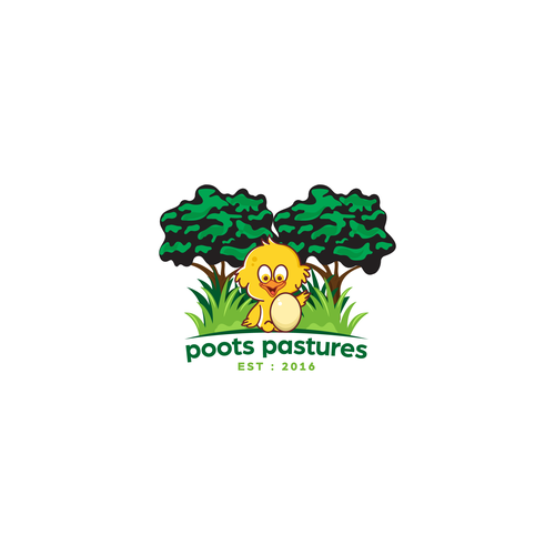 Poultry logo with the title 'Sustainable poultry and fruit farm logo'