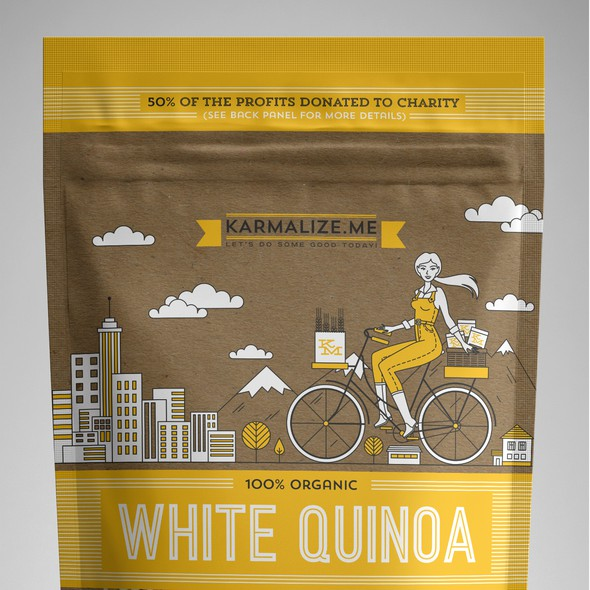 Kraft paper design with the title 'KARMALIZE.ME - Standup Pouch Design for a New Brand of 100% organic products'