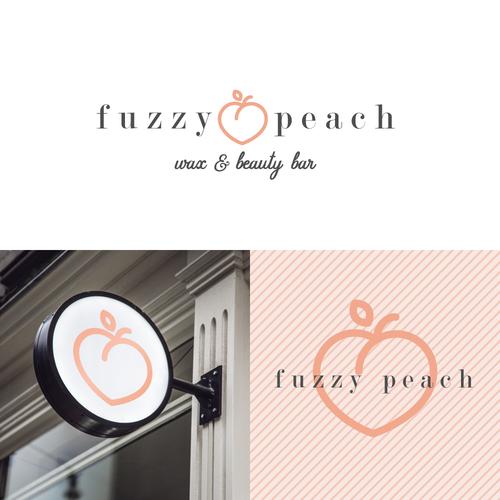Peach logo with the title 'Cute peach-themed logo for beauty bar'