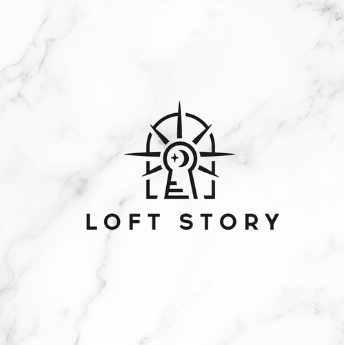 Stair design with the title 'Loft Story Logo'