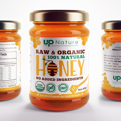 Honey label with the title 'Label Design for Organic Honey'