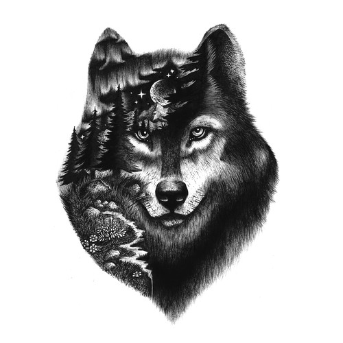 Forest artwork with the title 'Wise Wolf '
