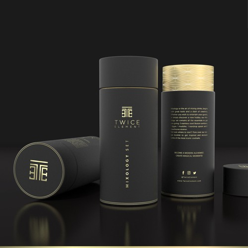 Cocktail design with the title 'Design a packaging for a premium cocktail set'