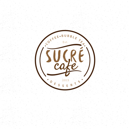 Modern rustic logo with the title 'Sucre Cafe '