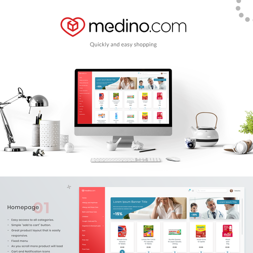 Mobile responsive design with the title 'Redesign of e-commerce website'