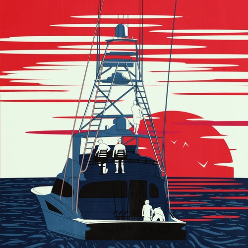 Fishing artwork with the title 'Fishing Boat in Sunset Illustration '
