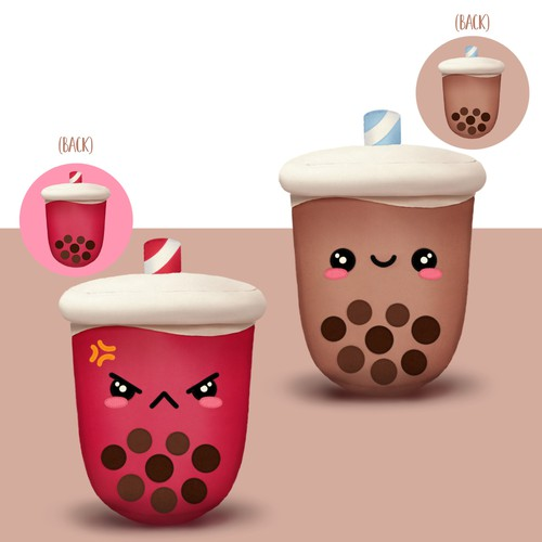 Bubble tea design with the title 'Reversible Bubble Tea Plush'