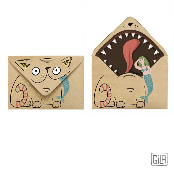 Funny illustration with the title 'Illustrated funny envelopes'