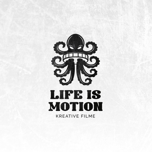 Filmmaker logo with the title 'Creative logo for Life is Motion film production company.'