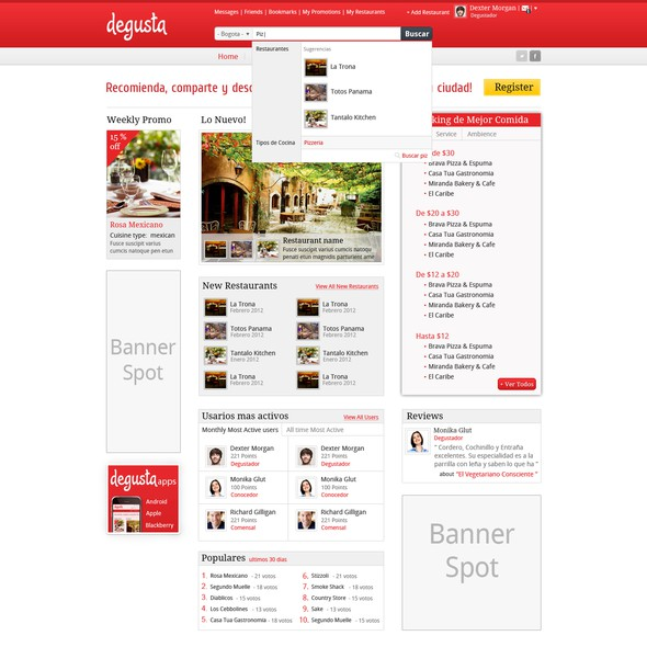 White and red design with the title 'Restaurant Guide web Redesign'