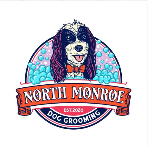 Round vintage logo with the title 'North Monroe Dog Grooming'
