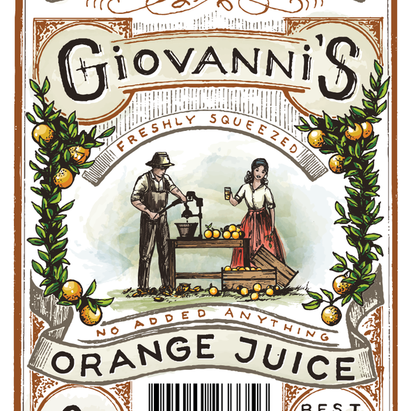 Botanical label with the title 'Orange Juice label'
