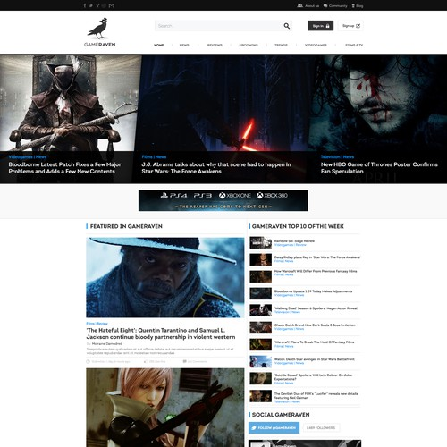 Game website with the title 'GameRaven'