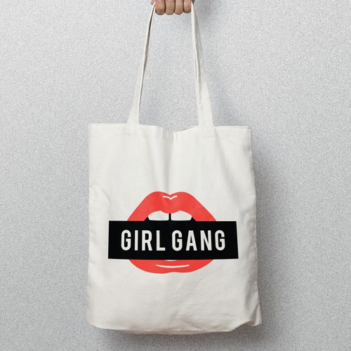 Screen print design with the title 'GIRL GANG TOTE BAG DESIGN '