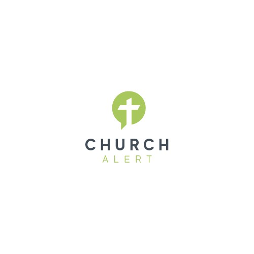 Alert logo with the title 'Minimal logo design for a church alerting app'