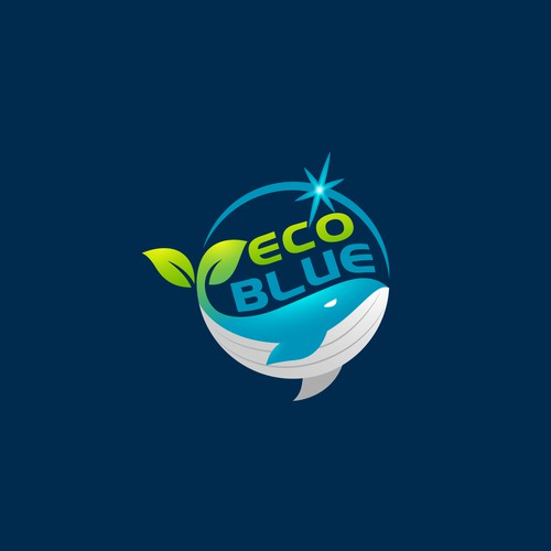 Whale logo with the title 'Eco Blue logo design'