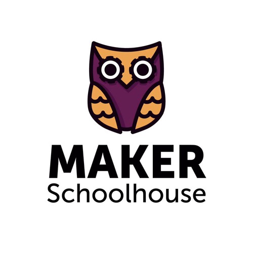 Material design logo with the title 'Create a Maker-Owl logo for Maker Schoolhouse!'