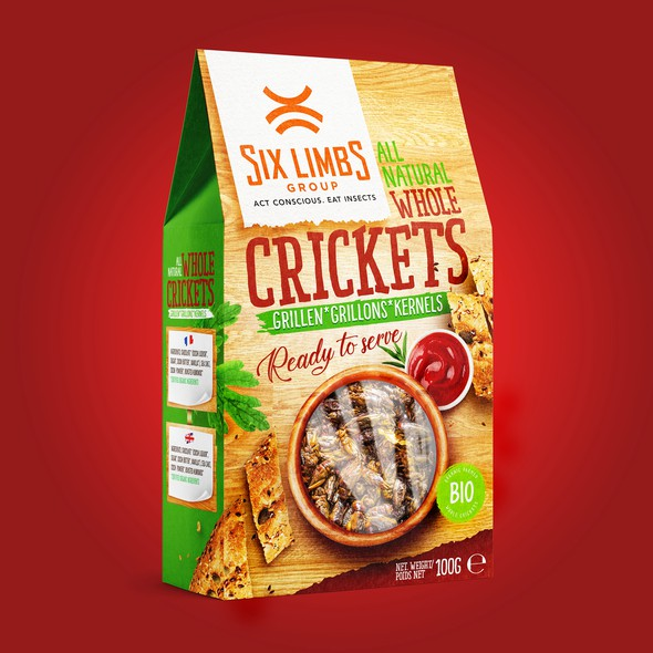 Snack packaging with the title 'Packaging design for Grilled Crickets'