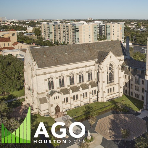 Houston design with the title 'Video Editing and Effects for AGO Houston 2016'