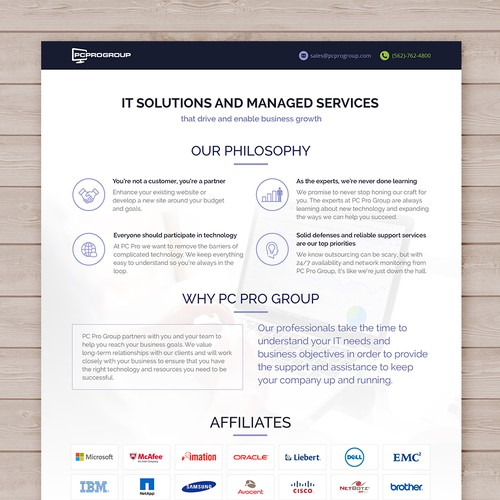 A design with the title 'IT Company - Creative line card template'