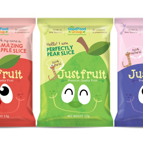 Fun packaging with the title 'Fruit snack for kids'