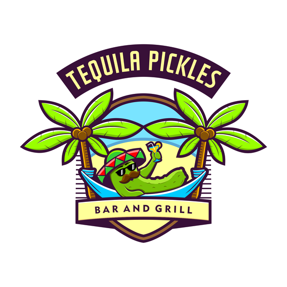 Sombrero logo with the title 'Fun and Classy Logo for Bar and Grill'