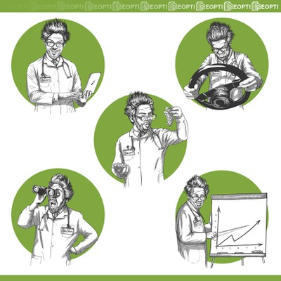 A series of illustrations - Crazy Professor
