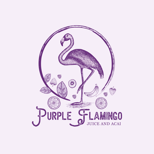 Purple and orange design with the title 'Design a fun fresh logo for healthy raw Juice and Acai cafe in New York'