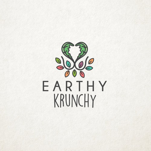 Vegan logo with the title 'Earthy Krunchy'
