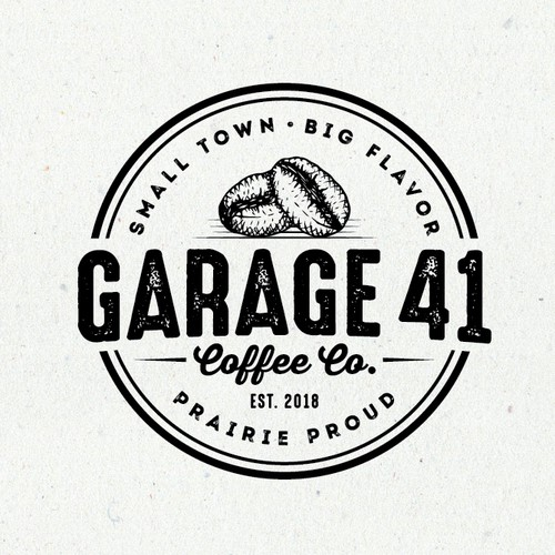 Garage design with the title 'Garage 41 coffee co.'