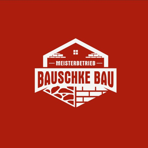 Masonry design with the title 'Construction Logo for BAUSCHKE BAU'